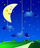 Surreal landscape. By night, with moon and clouds Stock Photo