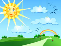 Surreal landscape. Surreal rural landscape with smiling sun Royalty Free Stock Photo