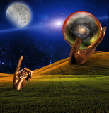 Surreal Landscape. With human hand sculpture pointing at moon Royalty Free Stock Images