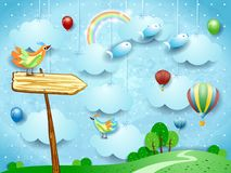 Surreal landscape with arrow sign, balloons, birds and flying fisches. Vector illustration eps10 royalty free illustration