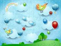 Surreal landscape with balloons, hot air balloons, birds and flying fisches. Vector illustration eps10 royalty free illustration