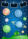 Surreal landscape with big planets and photo frames. Vector illustration eps10 stock illustration