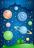Surreal landscape with big planets in the sky. Vector illustration eps10 Royalty Free Stock Photo
