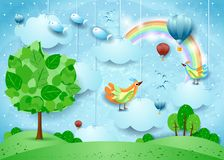 Surreal landscape with big tree, balloons, birds and flying fisches. Vector illustration eps10 royalty free illustration