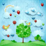 Surreal landscape with big tree, balloons, birds and flying fishes. Vector illustration eps10 stock illustration