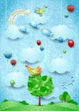 Surreal landscape with big tree, birds, balloons and flying fisches. Vector illustration eps10 vector illustration