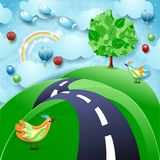 Surreal landscape with big tree, hill, birds, balloons and flying fishes. Vector illustration eps10 vector illustration