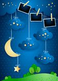 Surreal landscape with crescent moon, hanging stars and photo frames. Vector illustration eps10 vector illustration