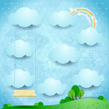 Surreal landscape by day with seesaw. Vector illustration eps10 Stock Photos