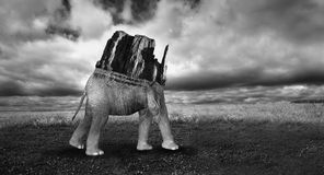 Surreal Landscape Elephant Mountain Illustration Royalty Free Stock Photography