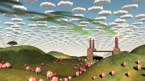 Surreal landscape with factory and pigs Stock Photo