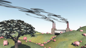 Surreal landscape with factory and pigs. Moving toward factory Royalty Free Stock Image
