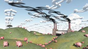 Surreal landscape with factory and pigs. Moving toward factory Stock Photos