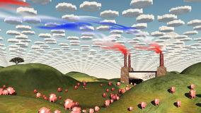 Surreal landscape with factory and pigs. Moving toward factory Stock Photo