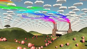 Magic Factory. Surreal landscape with factory and pigs moviong toward factory Stock Photo