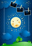 Surreal landscape with full moon, hanging clouds and photo frames. Vector illustration eps10 vector illustration