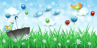 Surreal landscape with grass, umbrella and flying fishes. Vector illustration eps10 stock illustration