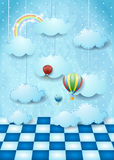 Surreal landscape with hanging clouds, balloons and floor Royalty Free Stock Images