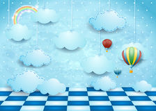 Surreal landscape with hanging clouds, balloons and floor Royalty Free Stock Photography