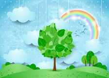 Surreal landscape with hanging clouds and big tree. Vector illustration eps10 Royalty Free Stock Photos