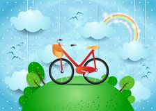 Surreal landscape with hanging clouds and bike. Vector illustration eps10 Royalty Free Stock Photos