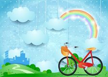 Surreal landscape with hanging clouds, city and bike. Vector illustration eps10 Stock Photo