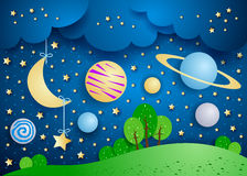 Surreal landscape with hanging moon and planets royalty free illustration