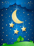 Surreal landscape with hanging stars Stock Image