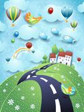 Surreal landscape with hill, road and flying fishes. Vector illustration eps10 royalty free illustration