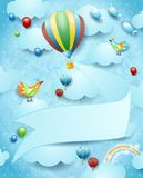 Surreal landscape with hot air balloon, banner and flying fishes. Vector illustration eps10 stock illustration