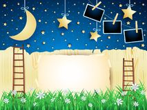 Surreal landscape with ladders, hanging moon and photo frames. Vector illustration eps10 stock illustration