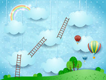 Surreal landscape with ladders and hot air balloons vector illustration