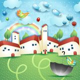 Surreal landscape with little town, umbrella and flying fishes. Vector illustration eps10 royalty free illustration
