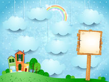 Surreal landscape with little town and wooden sign vector illustration