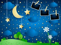 Surreal landscape with moon, flower and photo frames. Vector illustration eps10 stock illustration