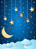 Surreal landscape with moon, stars and ladders. Vector illustration eps10 Stock Photography