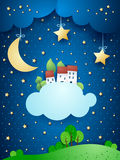 Surreal landscape with moon, stars, village and clouds royalty free illustration