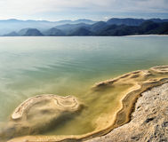 Surreal landscape morning mountain view with mineral springs Hie. Rve El Agua in Oaxaca, Mexico Stock Photo