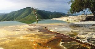Surreal landscape morning mountain view with mineral springs Hie. Rve El Agua in Oaxaca, Mexico Stock Images