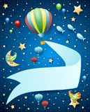 Surreal landscape by night with balloon, banner and flying fishes. Vector illustration eps10 stock illustration