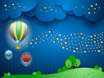 Surreal landscape by night with balloons and wave of stars Stock Photo