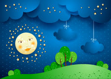 Surreal landscape by night with full moon and hanging clouds. Vector illustration eps10 Royalty Free Stock Photography