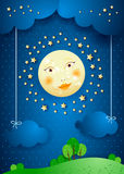 Surreal landscape by night with full moon and hanging clouds. Vector illustration eps10 Royalty Free Stock Image