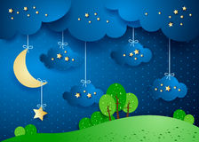 Surreal landscape by night with hanging clouds and stars. Vector illustration eps10 Royalty Free Stock Photos