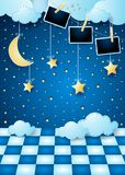 Surreal landscape by night with hanging moon, floor and photo frames. Vector illustration eps10 royalty free illustration