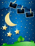 Surreal landscape by night with hanging moon, stars and photo frames. Vector illustration eps10 royalty free illustration