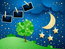 Surreal landscape by night with hanging stars and photo frames. Vector illustration eps10 royalty free illustration