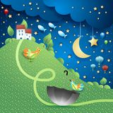 Surreal landscape by night with hill, umbrella and flying fishes. Vector illustration eps10 royalty free illustration