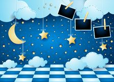 Surreal landscape by night with moon, floor and photo frames. Vector illustration eps10 vector illustration