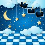 Surreal landscape by night with moon, floor and photo frames. Vector illustration eps10 stock illustration